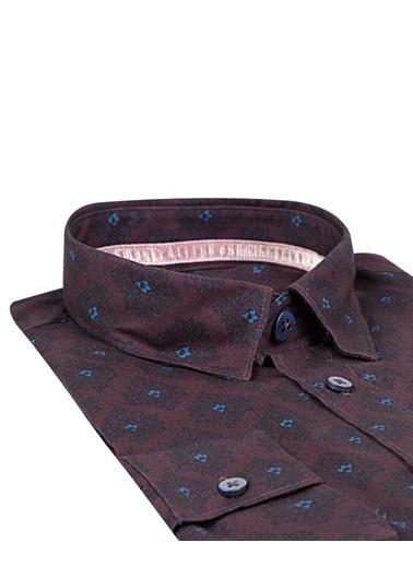 Tween Slim Fit Desenli Gömlek Bordo
